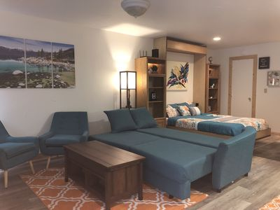Photo for New Comfy studio with shared Hot-tub/Sauna close to Beach/Northstar/Trails