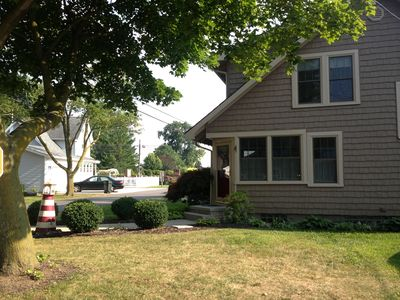 Roomy corner lot with  side yard for extra parking