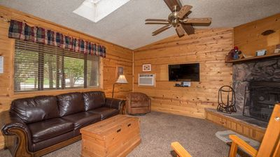"Photo for Whispering Pine Cabins - ""Ponderosa""  -  Upper Canyon - Fireplace & Kitchen"