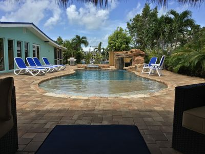 Photo for 4BR 3-1/2BA, Waterfront , 60' Dock,Heated Pool/Hot, Tub, Tiki, pet friendly!
