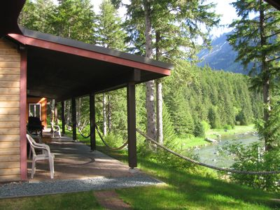Photo for Chilkoot Haven Haines room #2, right on the Chilkoot River, hot tub, BBQ grill