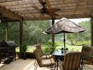 Screened & covered pergola. Combo gas&charcoal grill