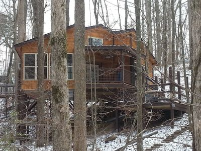 Mountain Tree House snuggled into a wooded little valley.