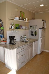 Kitchen - fridge, convection microwave, toaster, NuWave counter cook top, coffee