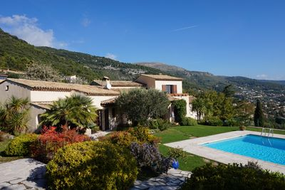 The view of the villa from the pool house