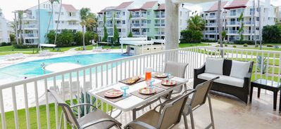 Balcony overlooks the oceanside Pool and swim up bar which opens for high season