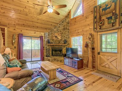 Photo for Secluded dog-friendly cabin w/ private hot tub, firepit, and mountain views!