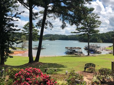 View of Lake Lanier from Side Garden, showing a very Gentle Slope to the Lake.