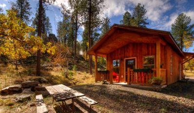The cabin is nestled among the trees in a mountain setting, outdoor seating