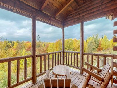 Photo for Log cabin duplex w/ a shared pool, hot tub, gym - close to Moosehead Lake