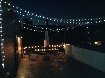 Private rooftop deck at night with blinking lights that you can turn on/off. & Beale 3 Blocks - Luxury Townhome 2 Car Gar... - VRBO azcodes.com