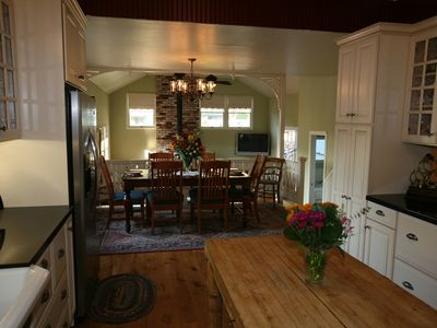 Farmhouse Kitchen and dining area- overlooks lower family room