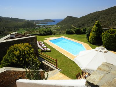 Photo for Heliades Villa with Pool & Sea View to the Aegean, 4 bedrooms