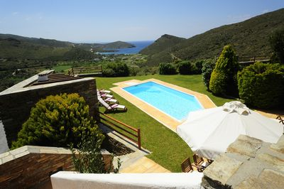 Fantastic view to the pool, the sea and the mountainside from the veranda