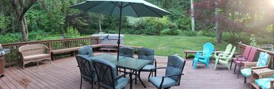 Deck with propane grill and hot tub, lawn space