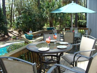 Poolside Deck Area in Tropical Setting