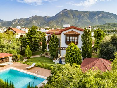 Photo for New! Luxurious, 3-bedroom Bellapais villa, mountain & sea views, amazing reviews