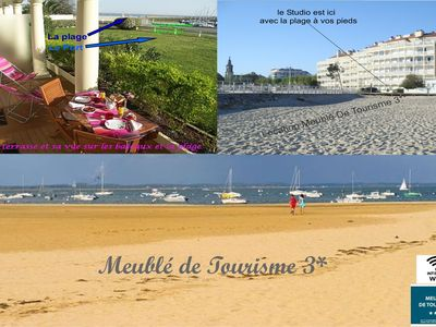 Photo for Arcachon beautiful 12m2 terrace with Harbour View and beach Classified 3 *