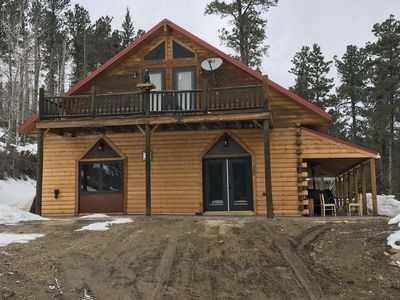 Photo for Spacious cabin just yards off Hwy 85 yet secluded with  beautiful views
