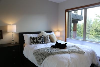 Bedroom with forest and mountain views and great light