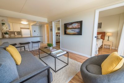 True One bedroom condo with pocket doors to close off the bedroom