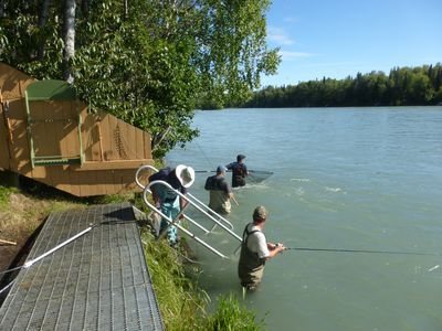 Private fishing on the property.  Fish cleaning table and freezer on property.