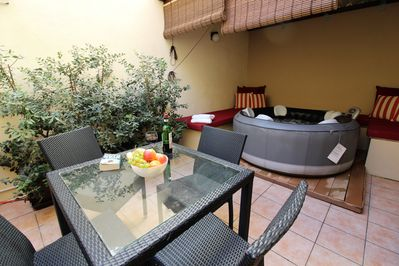 Ground floor terrace with bubble spa