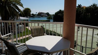 Back balcony view over table and chairs.