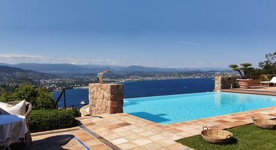 10 x 5 mtr heated infinity pool overseeing the Cannes bay 180 degree .