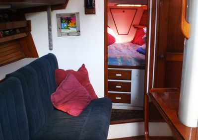 Sumptuous beautiful Wild Thing 44 ft. Morgan Salon guest cabin v birth and bath.