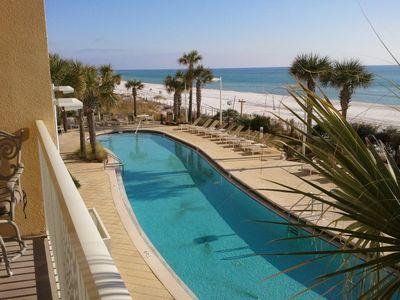 Enjoy the beautiful view of the pool and beach from our 2nd flr Calypso balcony