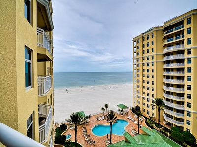 Panoramic 10th floor view of the pool and the Gulf of Mexico