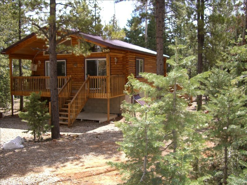 Sunny log cabin near zion bryce in duck c homeaway for Vacation log homes