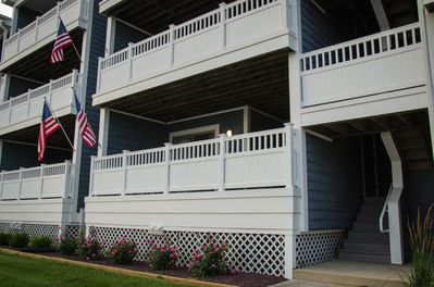 Our Private deck with stairs to dock