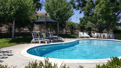 Pool sits about 50 yards from Guest House.