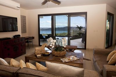 Spacious living room with amazing view of Coco Bay