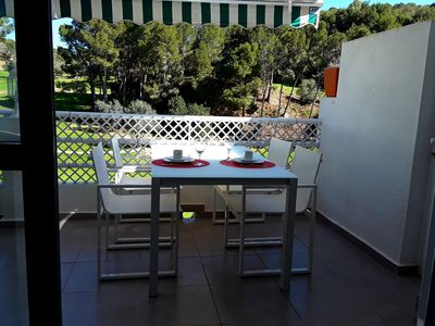 Photo for 4pp Holiday home directly on the golf course, communal pool