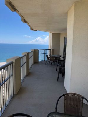 Large balcony with awesome view of ocean