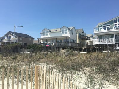 View from Beach to house. Beach access directly across from house.