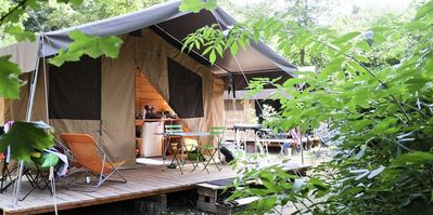 Photo for Camping Huttopia Lac de Sillé *** - Sweet Wood & Canvas Tent 3 rooms 5 persons