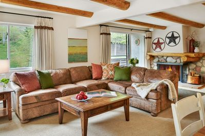 The large sectional sofa offers a comfortable spot to unwind during your stay.