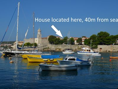 Photo for 40m from the sea, renovated stone house in old town with private garden