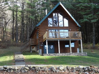 Photo for Beautifully decorated & immaculate log chalet on 3 acres, winter views.