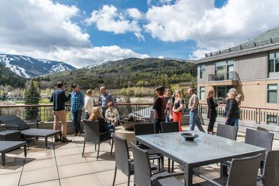 This is your huge private deck overlooking pool/BC mountain. Roast s'mores!