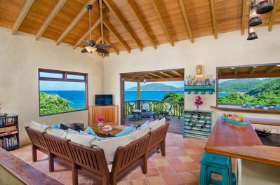 Lounge about with patio doors open and views of the surrounding islands