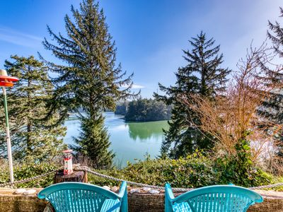 Riverfront home with beautiful river views, patio & fireplace!