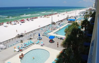 5th floor unit overlooks 3 pools and the Gulf of Mexico