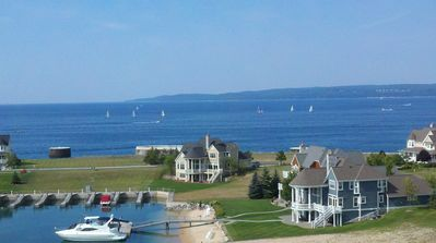 Sailboats on the lake from the deck