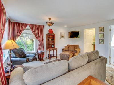 Photo for Dog-friendly getaway with outdoor fire & balcony - steps from beach access!