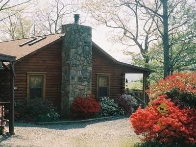 Photo for Pet friendly-Cozy & Comfortable log cabin, 2 screen porches, fenced yard